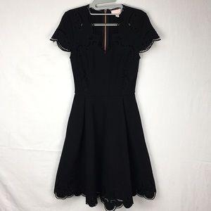 Ted Baker Black Saloane Embroidered V-neck Dress
